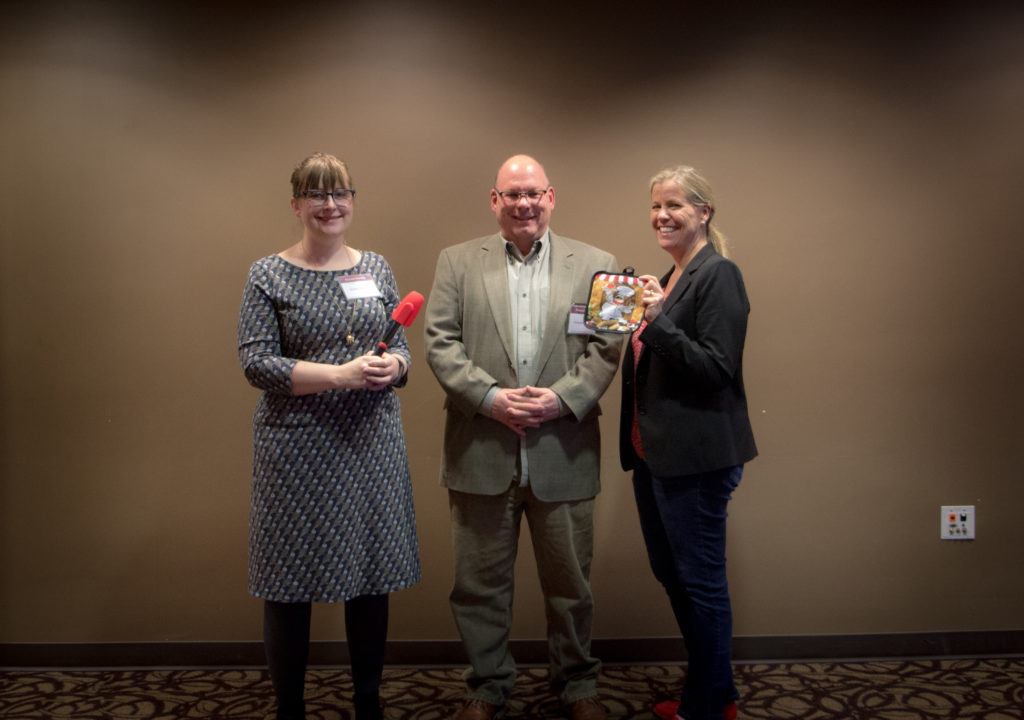 (L-R) Emily Johnson (History), Douglas Seefeldt (History), and Deborah Mix (English)